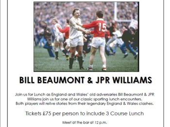 Ball Brothers - Legendary Sporting Lunch With Bill Beaumont And Jpr Williams 23rd Nov: JPR Williams + Bill Beaumont picture