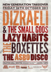 Flyer thumbnail for New Generation Takeover Presents: Dizraeli and The Small Gods + Lazy Habits + Boxettes + ASBO Disco DJs