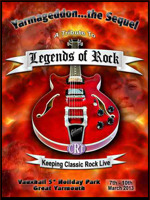 Flyer thumbnail for Legends Of Rock: Stargazer + Money For Nothing + The Howie G Revue + Marcus Malone + Hi-On-Maiden + Zeus (UK) + StoneWire + The Ben Poole Band + Mike Papas Band + Voodoo Six + Larry Miller + Walkway + Stone Free