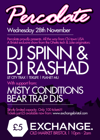 Flyer thumbnail for Percolate: DJ Spinn + DJ Rashad + Misty Conditions + Bear Trap DJs