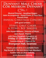 Flyer thumbnail for Christmas Concert: Dunvant Male Choir, Hywel Girls Choir, Hywel Boy Singers