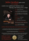 Flyer thumbnail for Valentine's Concert With Julian Jacobson.: Julian Jacobson