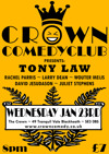 Flyer thumbnail for Crown Comedy Club Blackheath: Tony Law, Rachel Parris, Wouter Meijs, Larry Dean, Juliet Stephens, David Jesudason