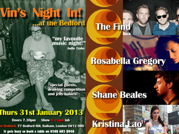 Vin's Night In!: Rosabella Gregory + Kristina Lao + Shane Beales + The Find picture
