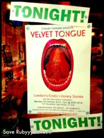 Flyer thumbnail for Velvet Tongue (Erotic Soiree): Ernesto Sarezale, coffee+sponge, Steven Pottle, Roz Kaveney, Rene L'Amour