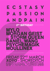 Flyer thumbnail for Ecstasy, Passion & Pain: Mylo + Morgan Geist + Daniel Wang + Psychemagik + Moullinex + Falty DL