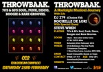 Flyer thumbnail for Throwbaak: DJ 279 + Rochelle De Lori + Steve Wren