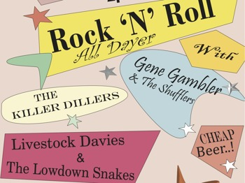 Rock N Roll All Dayer: Gene Gambler & The Shufflers + The Killer Dillers + Livestock Davies & the Lowdown snakes + The Rhythm Sticks picture